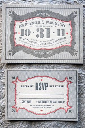 Vintage-Inspired Marquee Halloween Wedding Invitations