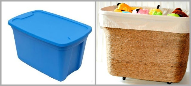 Upcycle an old plastic storage container by wrapping it in jute and adding wheels and some fabric.