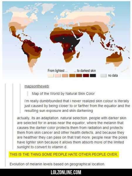 Map Of The World By Natural Skin Color#funny #lol #lolzonline