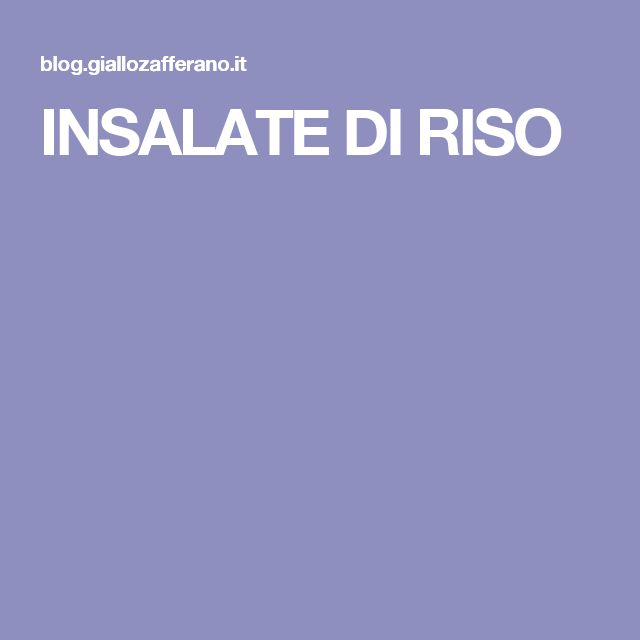 INSALATE DI RISO