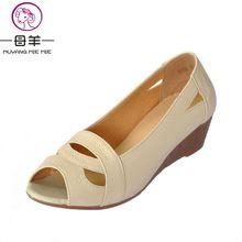 Plus la taille (35-43) 2017 D'été chaussures Femme à bout ouvert Femmes Cales en cuir véritable sandales Occasionnels plate-forme sandales Femmes Sandales(China (Mainland))