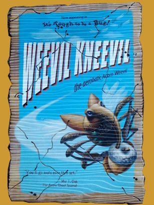 Posters, such as this one advertising Weevil Kneevil, use bug puns on famous performers