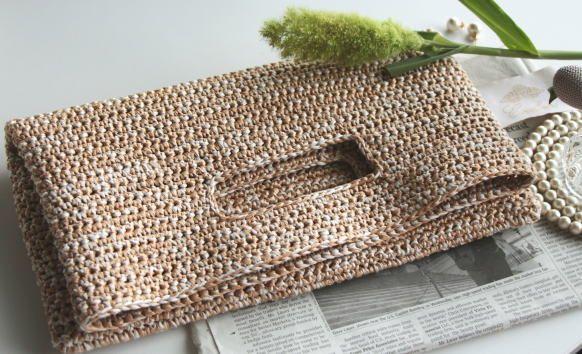 手編み製図 くりぬきハンドルクラッチバッグ : 洋裁パターン(型紙)・編み図の通販クルール~My wardrobe pattern~