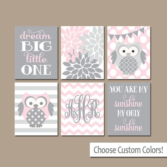 Pink Gray OWL Nursery Wall Art Playroom Art Baby Girl by TRMdesign