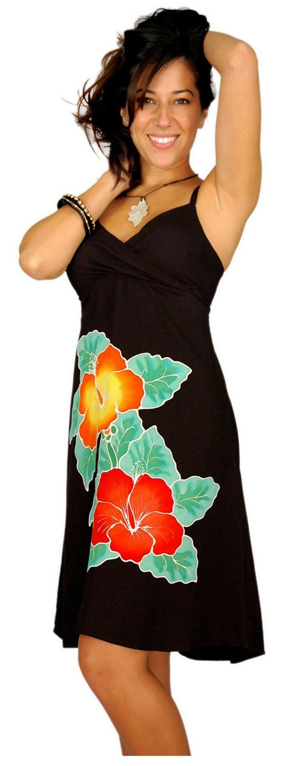 1 World Sarongs Womens Short Dress with Hand Painted Hibiscus Design in Black http://www.amazon.com/exec/obidos/ASIN/B005V3F01K/hpb2-20/ASIN/B005V3F01K