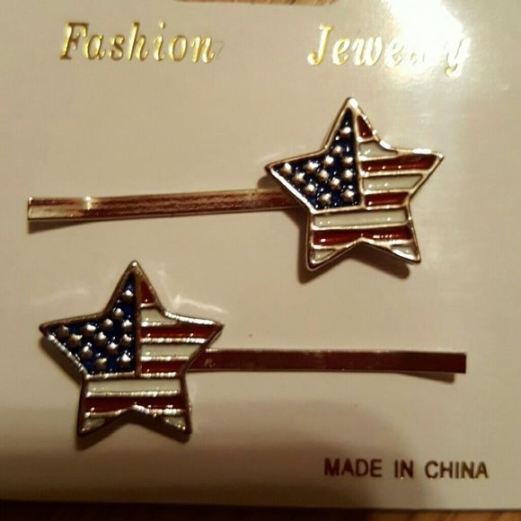 American Flag Star Hair Pins New, heavy duty  hair pins with a star that has the American Flag design. Great for the upcoming Holidays. Still in the package. NWOT Accessories Hair Accessories