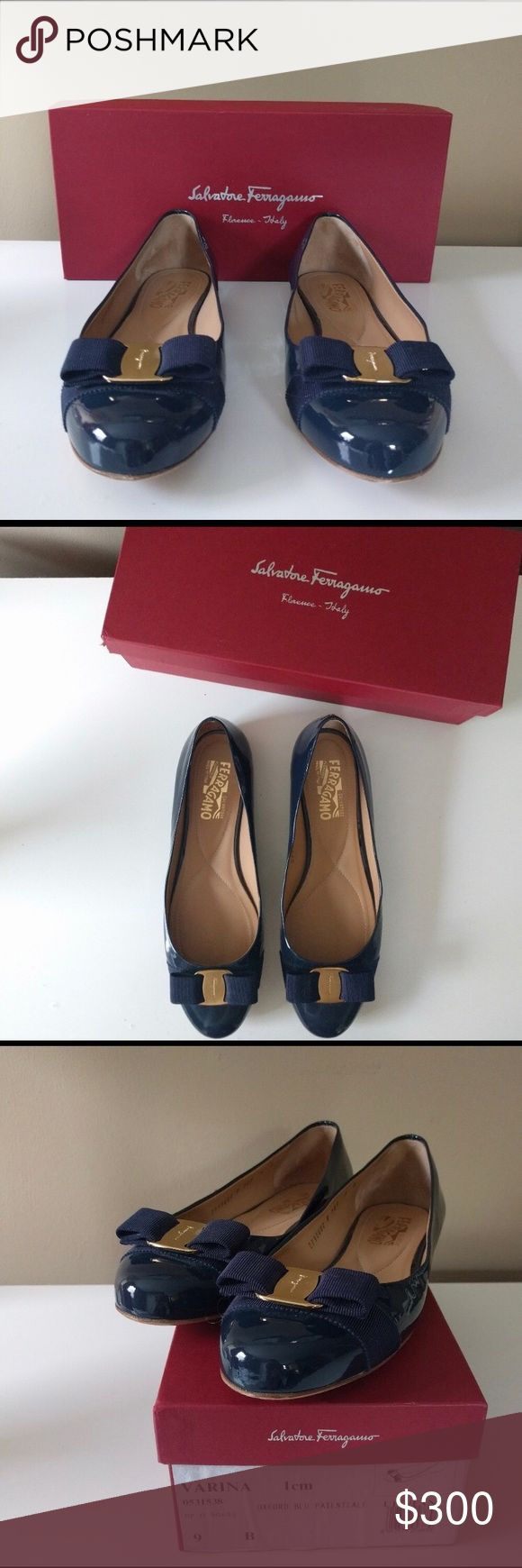Ferragamo navy patent flats -Size 9 -lightly used Chic and sophisticated Varina patent flats - lightly worn in original box. Lovely navy color, perfect for work or fun. Only selling because they are a little too small for me. Ferragamo Shoes Flats & Loafers