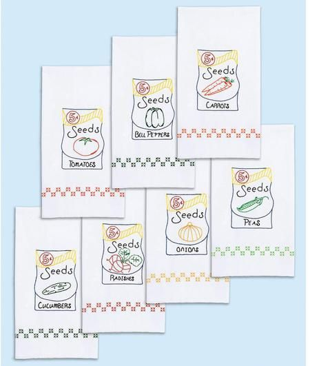 Jack Dempsey Needle Art Seed Packets Decorative Hand Towels Set Embroidery. Each package contains a set of seven 15 x 30 decorative Seed packet hand towels. Mad