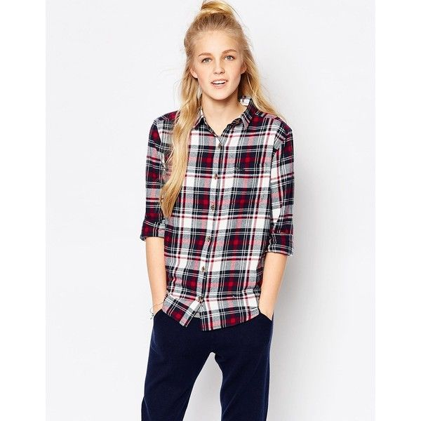 Tokyo Laundry Checked Shirt ($17) ❤ liked on Polyvore featuring tops, red, checkered top, flannel top, white top, red flannel shirt and shirt top