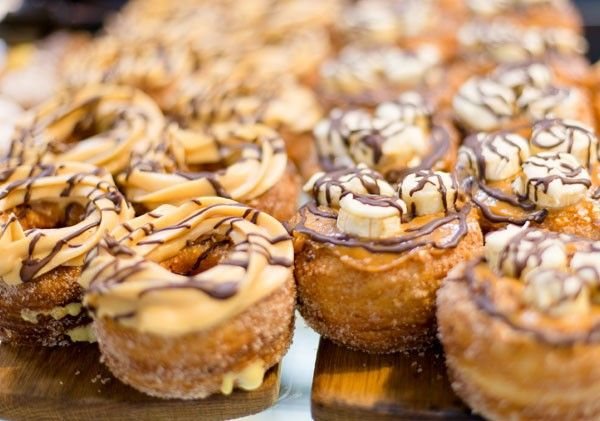 The food at Old Town Italy is humble Italian fare; the charcuterie and baked goods are hard to resist - such as these vanilla-custard cronuts.