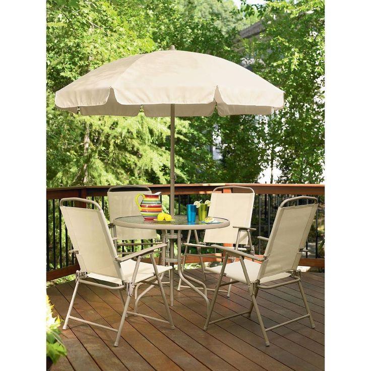 6 Pc Patio Set Folding Chairs Table Umbrella Outdoor Garden Patio Furniture Set #6PcPatioSet