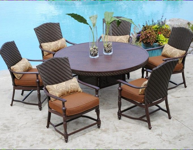 round patio table sets with upholstered chairs