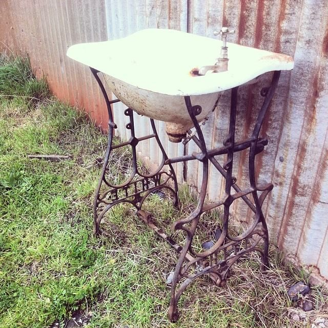 What to do with an old sink and old sewing machine stand
