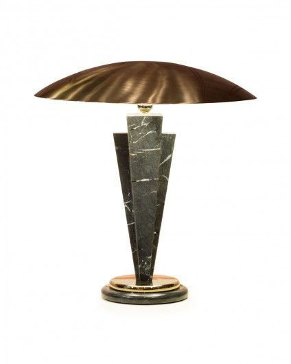 Wedge stem in shaped and polished solid marble, circular base in marble and metal, lampshade in brushed stainless steel with opal diffuser, fluorescent lighting 40W. Metal versions in chrome, gold or bronze.
