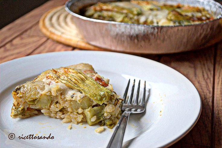Timballo di riso con tenerumi e fiori di zucchina  #ricetta di @luisellablog
