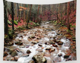 Check out Creek Tapestry, River Tapestry, Woods Tapestry, Woodland Tapestry, Landscape Tapestry, Forest Tapestry, Rustic Tapestry, Landscape Wall Art on mayaredphotography