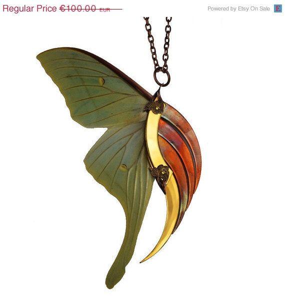 SPRING SALE 25% OFF / Urvashi / Luna Moth Large Gold by HaremRoyal