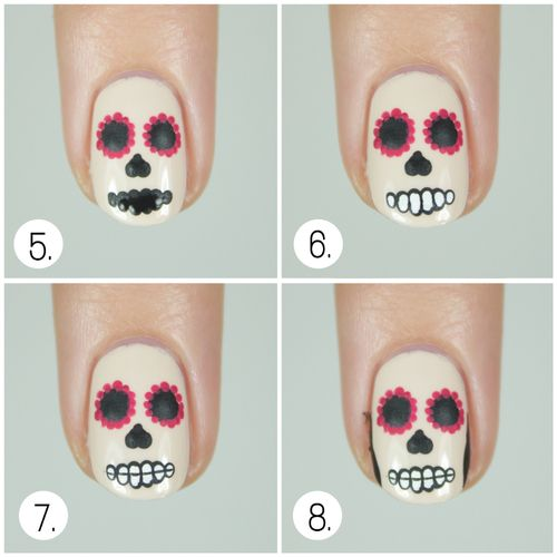 sugar skull nail art - Buscar con Google