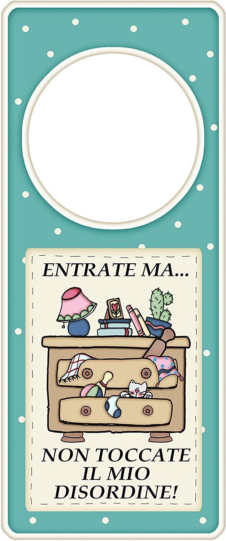 """appendi porta in legno """"Entrate ma non toccate il mio disordine"""" idea regalo, artigianato italiano, made in Italy, con frase scritta, spiritosa, fuori stanza, appendi porta, fuori porta, tavola country: Amazon.it: Casa e cucina"""