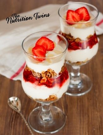 Easy Strawberry Parfait | Great Energy Boosting Snack | Only 159 Calories! | For MORE RECIPES pleas SIGN UP for our FREE NEWSLETTER www.NutritionTwins.com