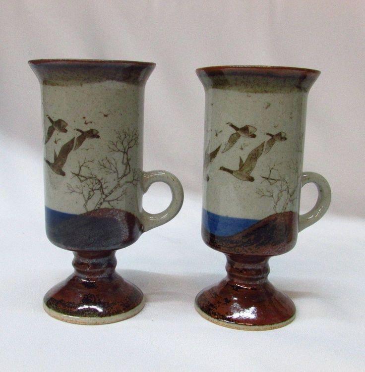 2 Studio Pottery Cappuccino Mugs Tall Pedestal Geese In Flight Birds Coffee Tea
