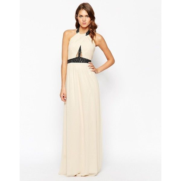 Little Mistress Halter Neck Prom Maxi Dress with Embellishment ($38) ❤ liked on Polyvore featuring dresses, nudeblack, halter neck maxi dress, halter prom dresses, halter neck prom dresses, tall maxi dresses and embellished maxi dress