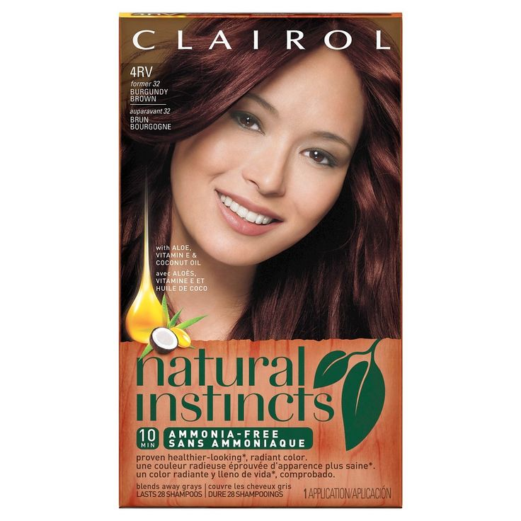 Clairol Natural Instincts Non-Permanent Hair Color - 4RV/32 Egyptian Plum Burgundy Brown - 1 kit, 32 Burgundy Brown