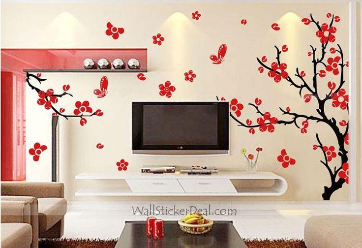 Cherry blossom tree wall stickers stencils wall decals for Cherry blossom wall mural stencil