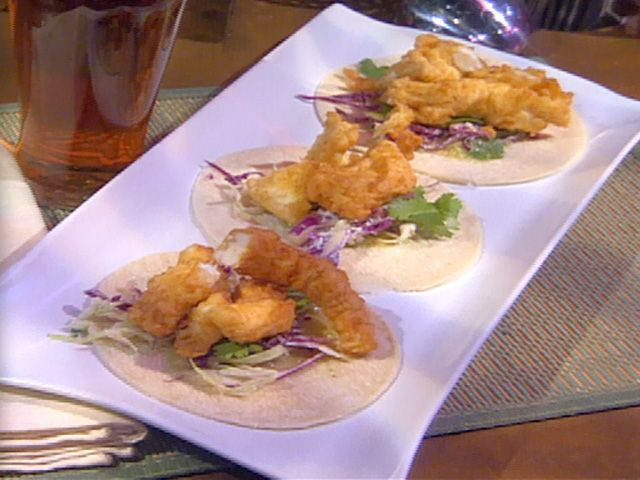 Fish Tacos with Roasted Tomatillo Salsa Recipe : Emeril Lagasse : Food Network - FoodNetwork.com