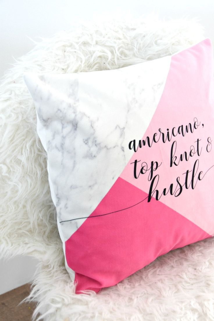 """Pink and marble throw pillow - """"Americano, Top Knot & Hustle"""" - perfect for any girl boss! Via TheSweetestDigsCo on Etsy."""