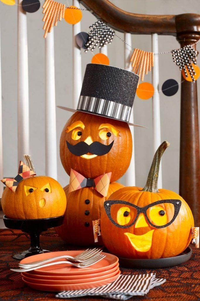 40 Halloween Pumpkins With Children My Wall Decor Ideas Decorar Calabazas Halloween Calabazas Talladas Decoración Halloween