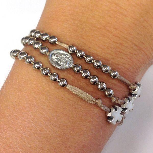 rosary bracelet  Bracciale rosario 5 decine con croci e madonna   Egoriccione