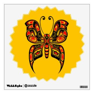 Red and Black Haida Spirit Butterfly on Yellow Wall Sticker