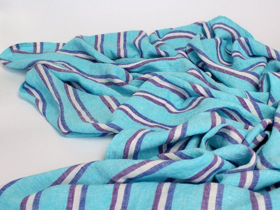 Striped Linen Beach Towel Extra Large Size 100 Linen Bath Towel Blue Striped Linen Beach Blanket Soft Flax Linen Throw Towel Sheet