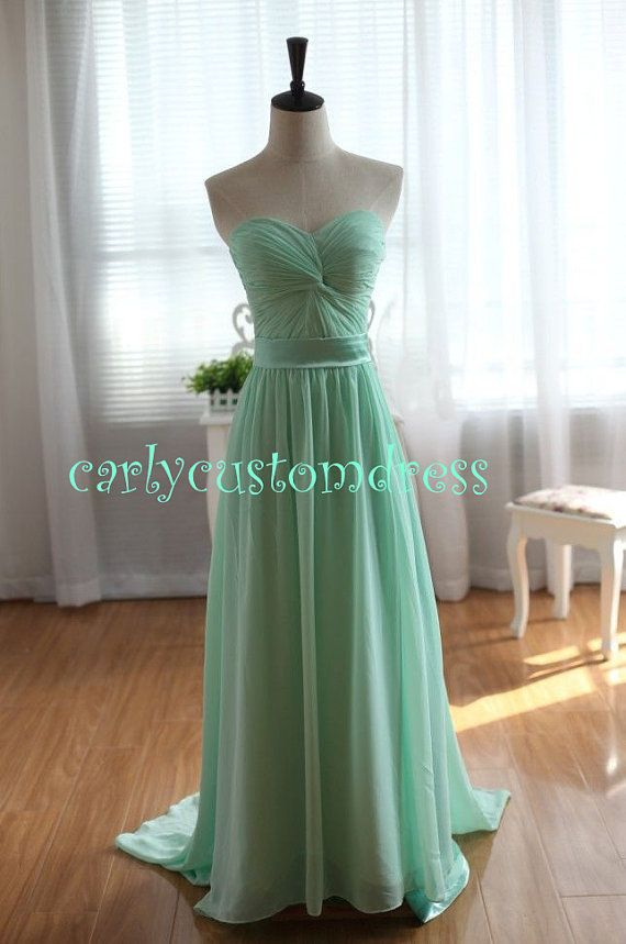 Long Mint Chiffon Bridesmaid Dress C Blue Peach Red Grey Black Prom Homecoming Party Tail Wedding
