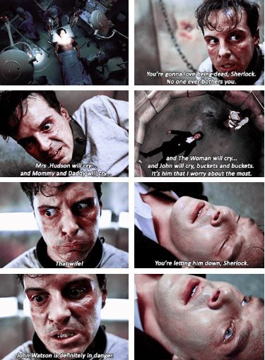 So, apparently, Sherlock keeps a little, rabid Moriarty chained up in the Pain Management compartment of his Mind Palace. Okay.>>> Yeah, but he was dead. He was DEAD. He flat lined and the second Moriarty said that John Watson was going to be in danger, he woke up. He came BACK TO LIFE for his best friend.
