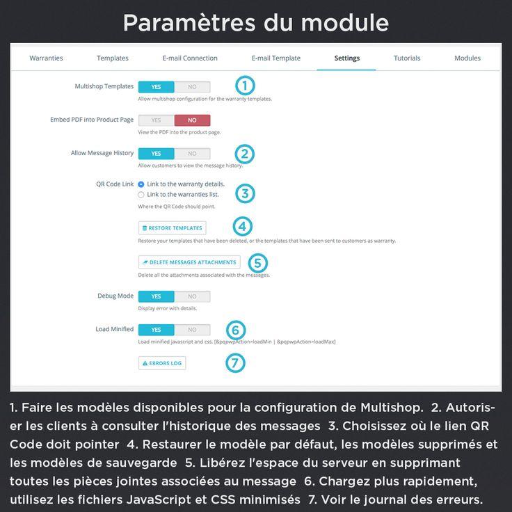 Paramètres du module, faire les modèles disponibles pour la configuration de Multishop, autoriser les clients à consulter l'historique des messages, choisissez où le lien QR Code doit pointer, restaurer le modèle par défaut, les modèles supprimés et les modèles de sauvegarde.