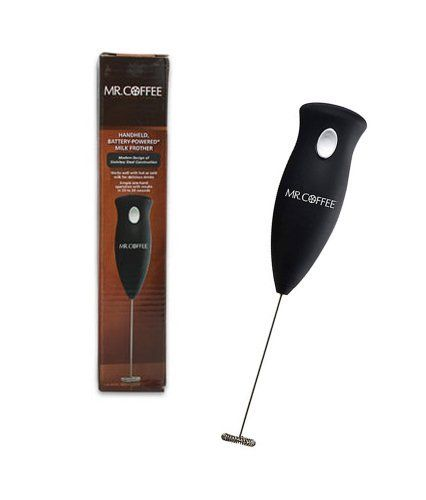 Mr. Coffee Handheld Battery Powered Milk Frother by Mr.CofFee. $8.64. Requires 2 AA batteries (not included. Rinses clean for storage. Stainless steel construction and durable, impact-resistant polymers. Simple, 1-hand operation with results in 20 to 30 seconds. Handheld, battery-powered milk frother. From Mr Coffee, a Milk Frother, Hand Held and Battery Powered.  A Modern design of Stainless Steel Construction. Works well with hot or cold milk for delicious drinks.  Simpl...