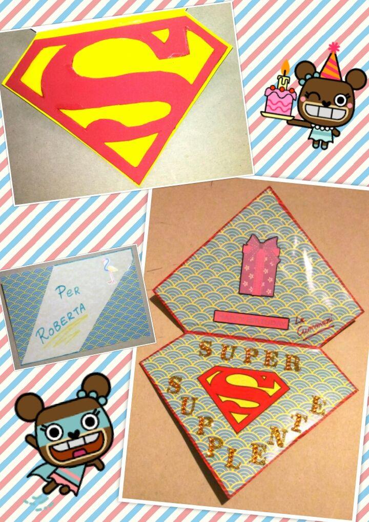 biglietto auguri compleanno superman supereroe maestra supplente