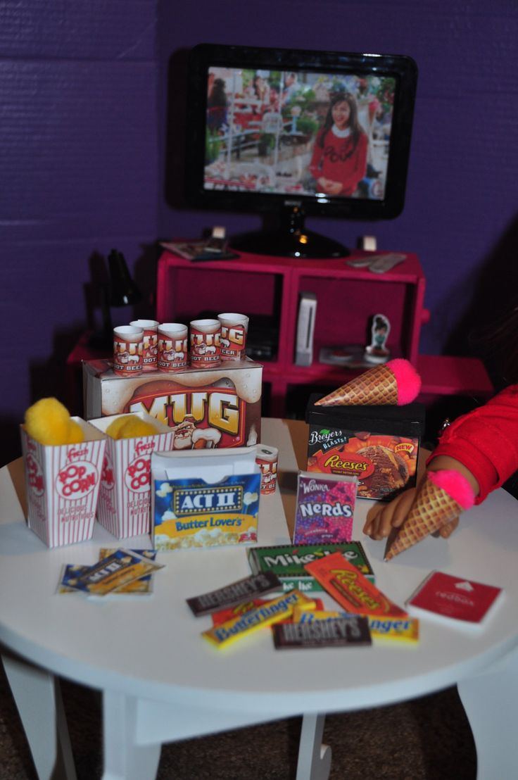 American Girl 18 inch Doll Movie Night Food by gleefulbambino on Etsy