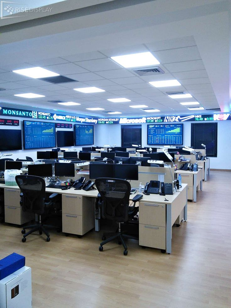 Custom LED STock Ticker wrapping trading floor in Dominican Republic
