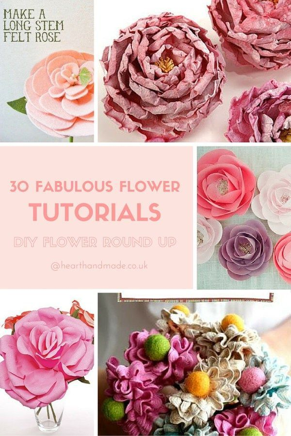 Click through to view 30 Fabulous Flower Tutorials! Great DIY Idea's for making your own flowers out of paper, clay or fabric!