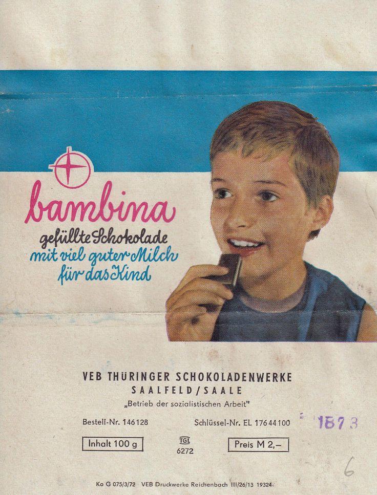 Verpackung Schokolade Bambina gefüllte Schokolade mit viel guter Milch fürs Kind | eBay