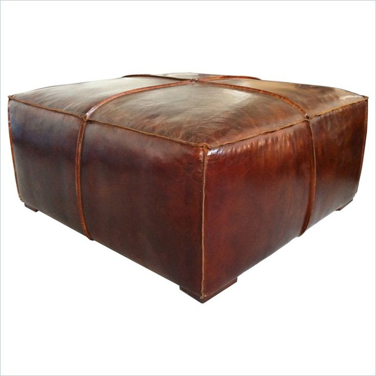 Moe's Stamford Leather Ottoman Coffee Table in Brown - PK-1019-20