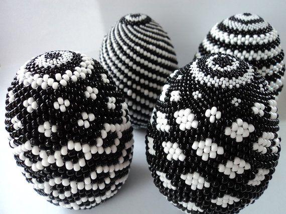 Handmade Beaded Easter Egg Black & White Open by TheBeadedEgg