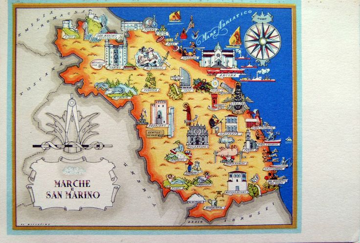 San Marino - Map of Marche region of Italy and the Republic of San Marino 1941