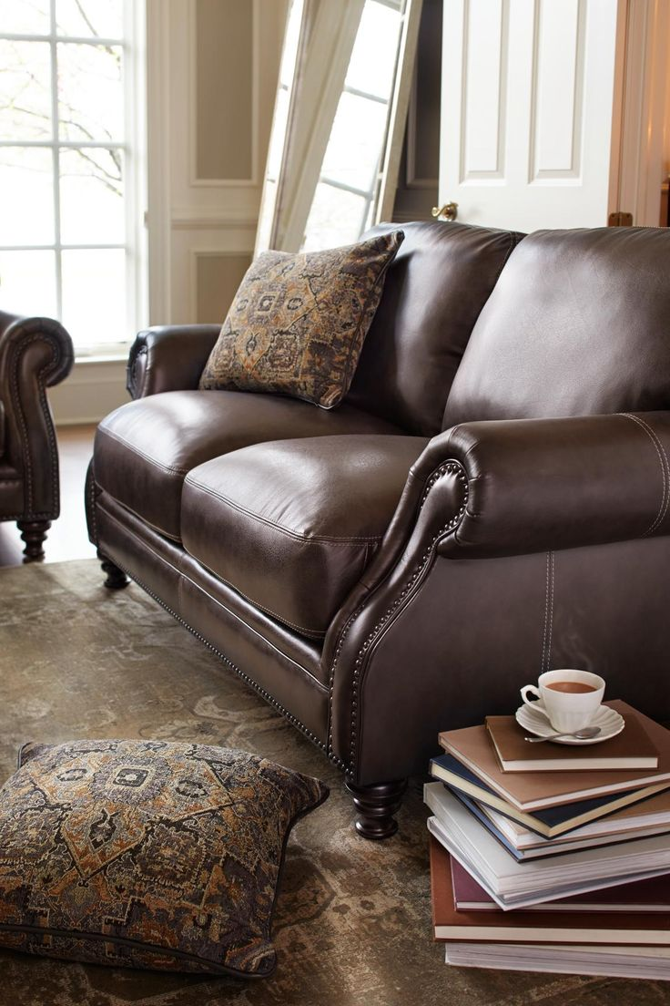 Angus accent arm chair brown buy seating living room store - Lounge In The Supple Soft Leather Of Our Carrington Sofa Traditional And Timeless Living Room Seatingsoft