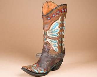 "Southwestern Style Boot Vase 12.5"""" -Cowgirl (v3)"