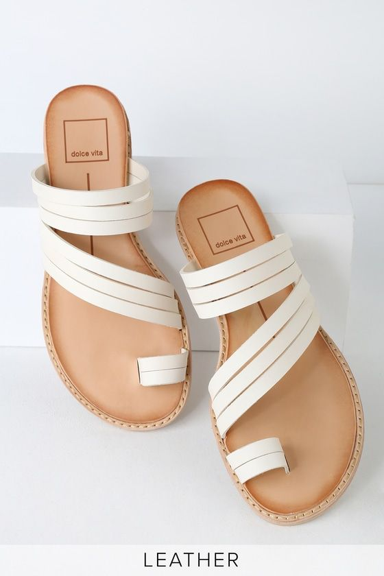 1f68a18a867d Step into a vacation state of mind with the Dolce Vita Nelly Off White  Leather Flat Sandals Flat Sandals! A set of off-white genuine leather  straps cut ...