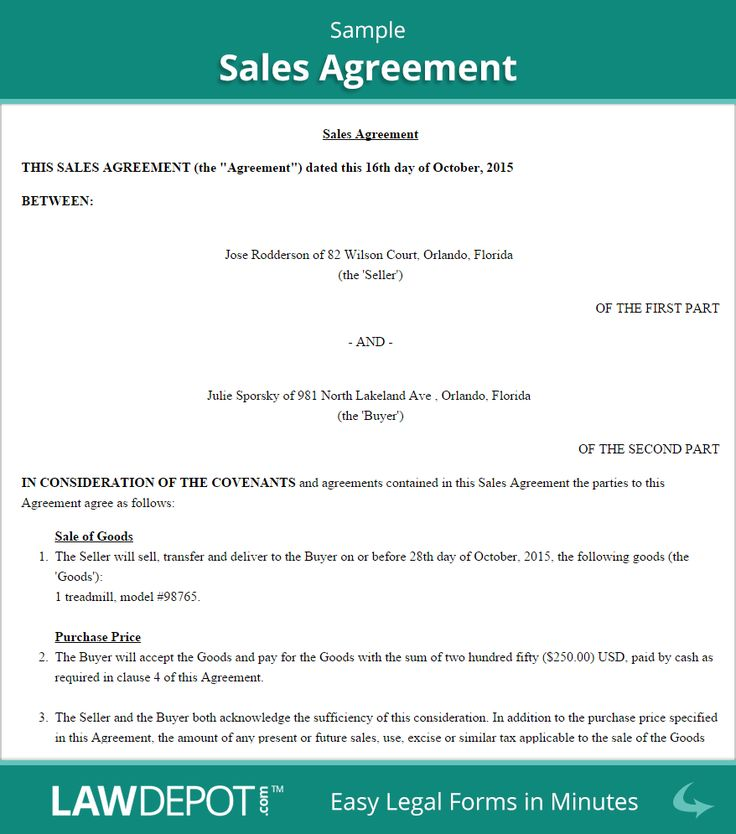 Sales Agreement Sample  Contracts    Term Paper